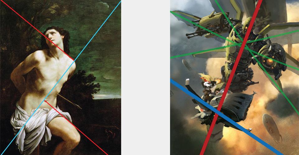 kompozycja obrazy malarstwo digital painting komponowanie linie diagonalne