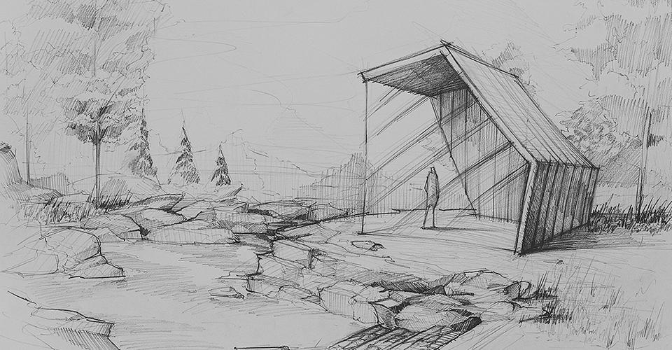 architektura rysunek kompozycja domek w lesie