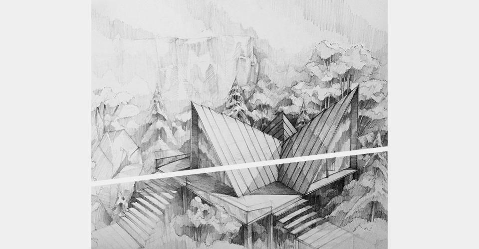 kompozycja walor domek w górach architektura rysunek