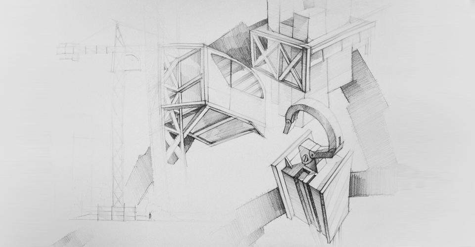 linie diagonalne rysunek kompozycja architektura hak dźwig kontrast