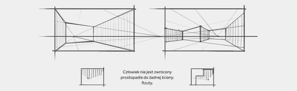 Rysunek pomieszczenia w perspektywie dwuzbiegowej.