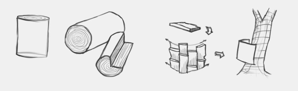 jak narysować drewno pień drzewa korę