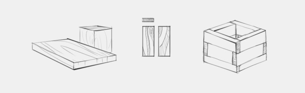 jak narysowac deskę drewno skrzynka drewniana słoje na desce