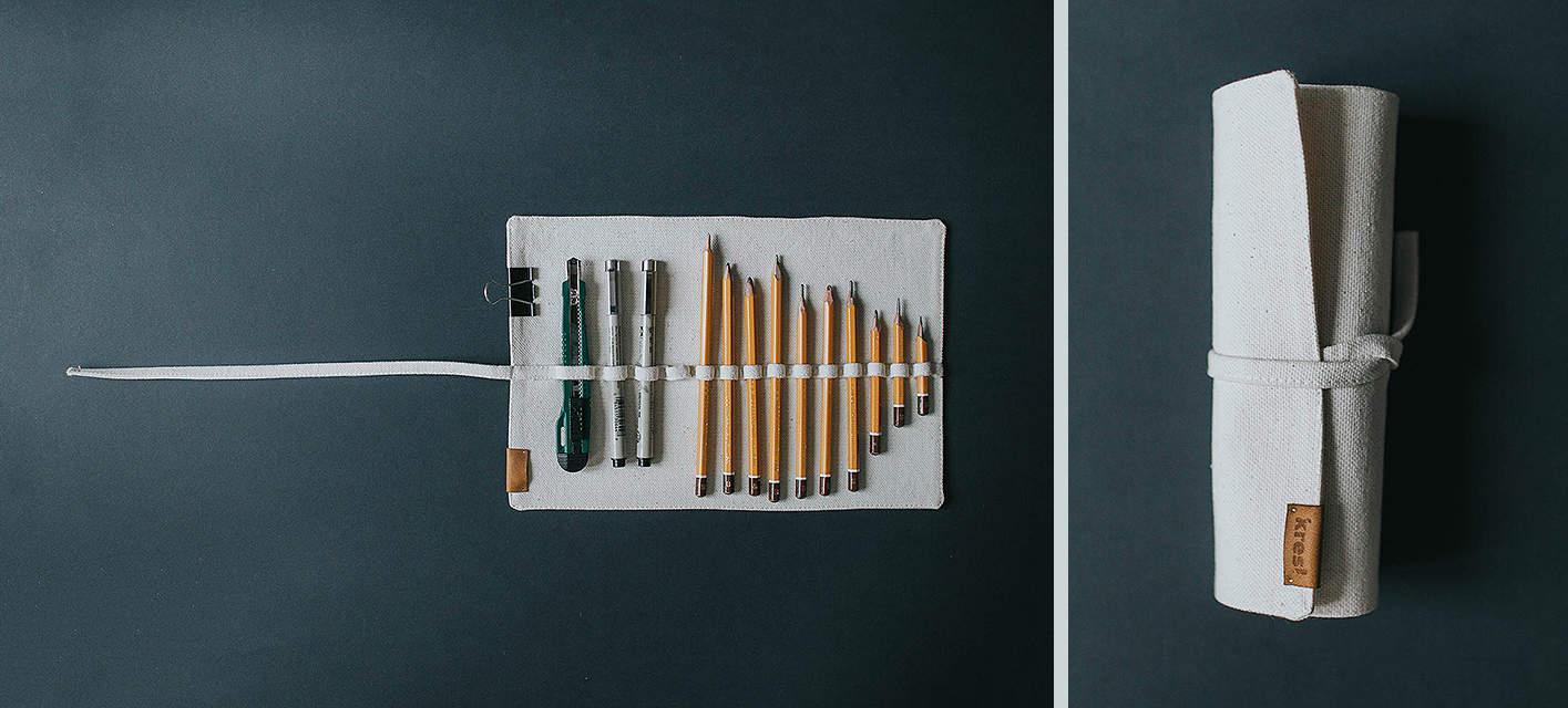 Piórnik zwijany na ołówki, większy.