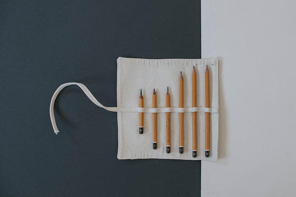 materiałowe piórniki na ołówki